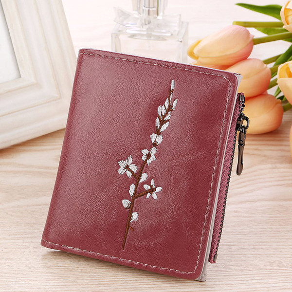New Arrival Vintage Embroidery Flowers Lady Pu Coin Purse Money Bag Small Wallets Fashion Women Female Hasp Zipper Short Wallet