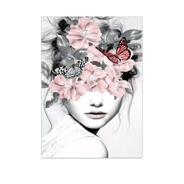 DHL Big flower Poster fashion woman Printed Painting Wall Art Prints Poster Living room decor 30x40 cm Free shipping Customize