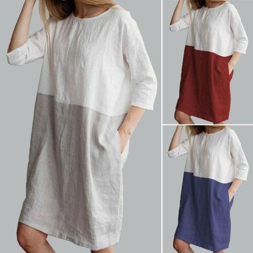 Abito da donna vintage caldo Tasca estiva Casual manica corta in cotone in lino sciolto Top da tunica da donna Mini abito Capispalla per ragazze