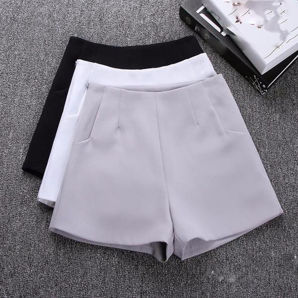 cintura botas altas calções mulheres 2020 verão nova versão coreana do grande perna A linha de Slim era magro cor sólida calções terno casuais