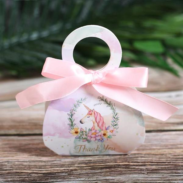 Baby shower Party Bomboniere in marmo unicorno Scatole caramelle grazie Cartella regalo dolce Borsa di carta portatile Rosa verde 50 pezzi