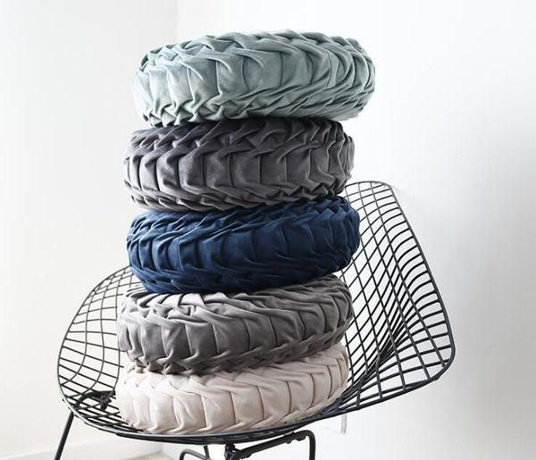 Abóbora Forma Almofada Rodada Almofadas Decorativas Travesseiro Artesanal Plicated Almofada Cadeira Forma Almofadas Pad Multi Cores