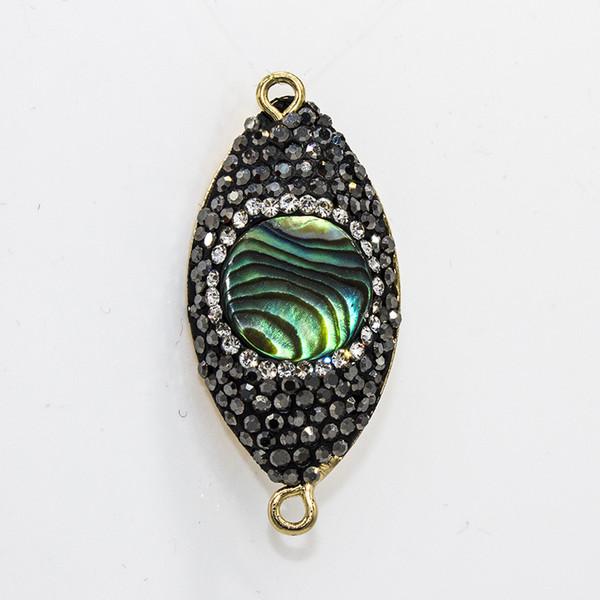En gros Noir strass Abalone Shell Argile En Alliage De Métal Ovale Collier Connecteur Perles 2 Trous Charms Pendentif Accessoire pour La Fabrication de Bijoux