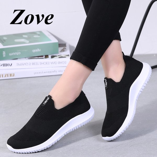Zove المرأة شقة أحذية رياضية 2019 الصيف الأزياء الانزلاق على المتسكعون تنفس أحذية تنس ضوء فام الشقق السيدات الأحذية
