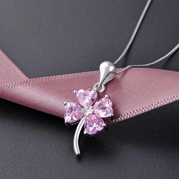 wholesale 2018 hot S925 sterling silver four-leaf clover necklace pendant women's pink zircon pendant temperament simple jewelry I5