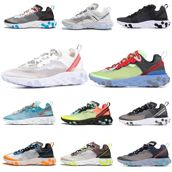 Nike Epic React Element 87 87s Zapatillas De Correr Para Hombre Mujer Blanco Negro Royal Tint Azul Desert Sand Para Hombre Diseñador Transpirable