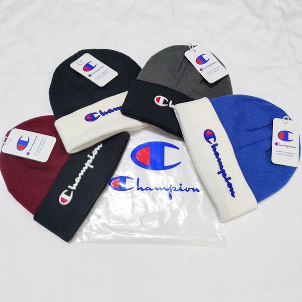 Champion d'hiver Bonnets Caps en tricot de laine crochet Chapeaux adultes Hommes Femmes Sport Neige Ski Caps Couleurs Bonbons Tricoté Couvre-chef B9301 Beanies