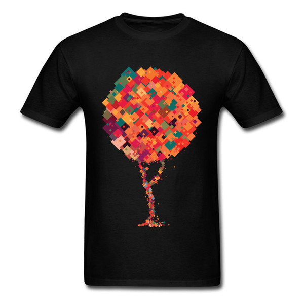 Casual Men Summer T-shirt Cotton Clothing Colorful Square Tree T Shirt Newest VALENTINE DAY Short Sleeve O-Neck Tops Shirts