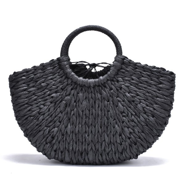 2018 new Handmade Bag Women Pompon Beach Weaving Ladies paper Straw Bag Wrapped Beach Moon shaped #34224