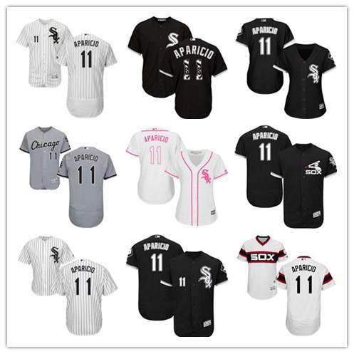 Пользовательские 2019 мужчины женщины Уайт Сокс 11 # APARICIO Кремовый Белый Серый Голубой Бейсбол Hots Рубашка Сшитые Верхнего Качества для детей трикотажные изделия