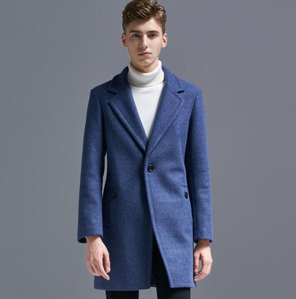Herbst Winter Casual Eine Wolle Mantel Schnalle Männer passt Trenchcoats lange Ärmel Mantel Herren Kaschmir Mantel Masculino England