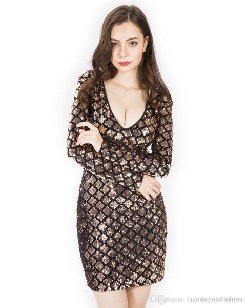 Lantejoulas Womens Bodycon Vestidos Designer Profundo Decote Em V Vestidos de Verão de Luxo Moda Senhoras Night Club Vestidos