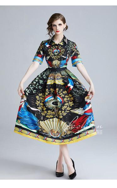 Vestidos de estilo retro de impresión de moda de 2019, faldas largas de primavera y verano, vestido de manga corta con cuello de solapa
