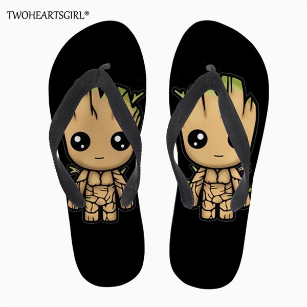 Twoheartsgirl Cartoon Groot Women Flip-flops Summer Slippers Shoes Ladies Flip Flops Slide Sandals Beach Zapatillas Mujer