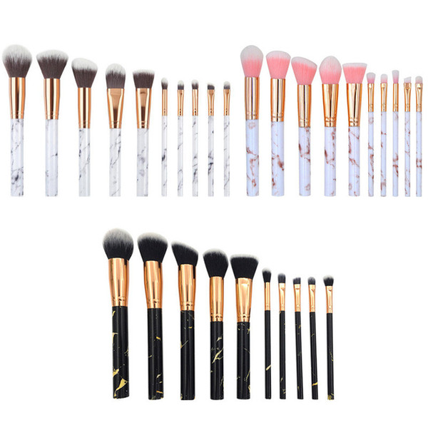 10pcs / set Marble Makeup Brushes Blush Powder Sopracciglio Eyeliner Highlight Concealer Contour Foundation con sacchetto del opp