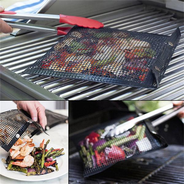 Bolsa de malla antiadherente para asar a la parrilla Bolsa antiadherente para hornear BBQ Accesorios para picnic al aire libre Bolsa reutilizable y fácil de limpiar para BBQ