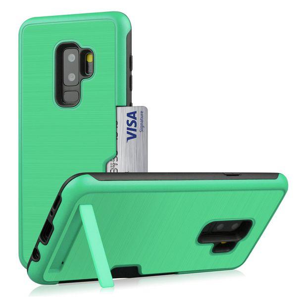 Estuche a prueba de golpes para Galaxy S9 Estuche rígido para PC Soporte para tarjeta TPU Cubierta protectora de goma para parachoques suave Samsung S9 Plus