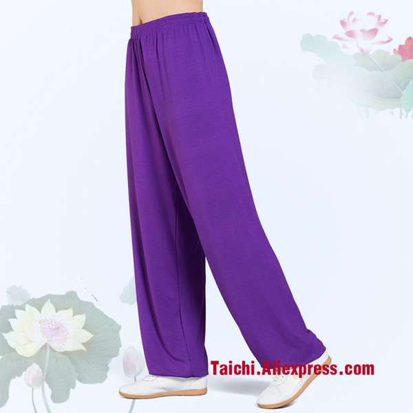 Modal Tai Chi Pants Woman And Man Wu Shu Pants Spring And Summer Martial Art Yoga pink blue rose black orange voilet