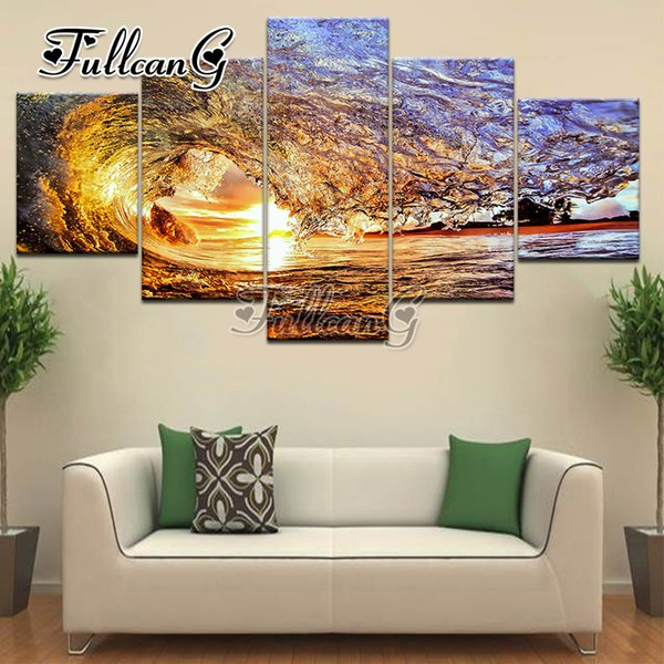 """wholesale diy 3d mosaic full embroidery """"sunset waves"""" diamond painting 5 panel pictures of rhinestone hobbies and crafts G1209"""