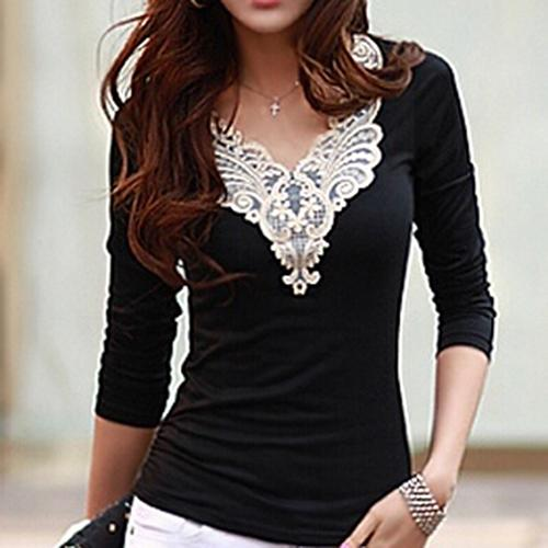 Women's Embroidery Lace Decoration Tops V Neck Long Sleeves Slim Cotton T-Shirt