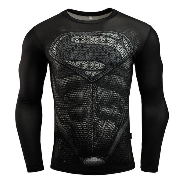 2019 gym Hot Sale superman Punisher Rashgard Running Shirt Men T-shirt Long Sleeve Compression Shirts Gym T Shirt Fitness Sport Shirt