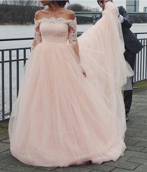 Luz rosa simples vestido de noiva A linha de vestidos de casamento até o chão fora do ombro vestidos de noiva com apliques de renda