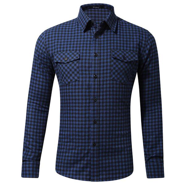 Fashion Navy Plaid Shirt Men Sim Fit Mens Dress Shirts Casual Button Down Long Sleeve Work Shirt Camisas Hombre GD22