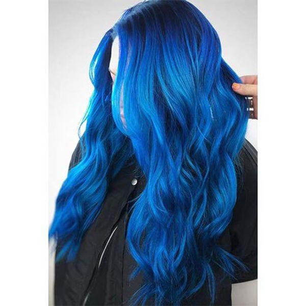 Объемная волна волосы Плетение 3 или 4 Пучков синего цвета с 4x4 волосами Закрытия Free Части Бразильского 100% Virgin Человеческого волоса Связка 10-18inch