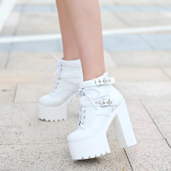 new 14cm high heel boots super high-heeled waterproof platform lace-up high heels nightclub catwalk thick with boots