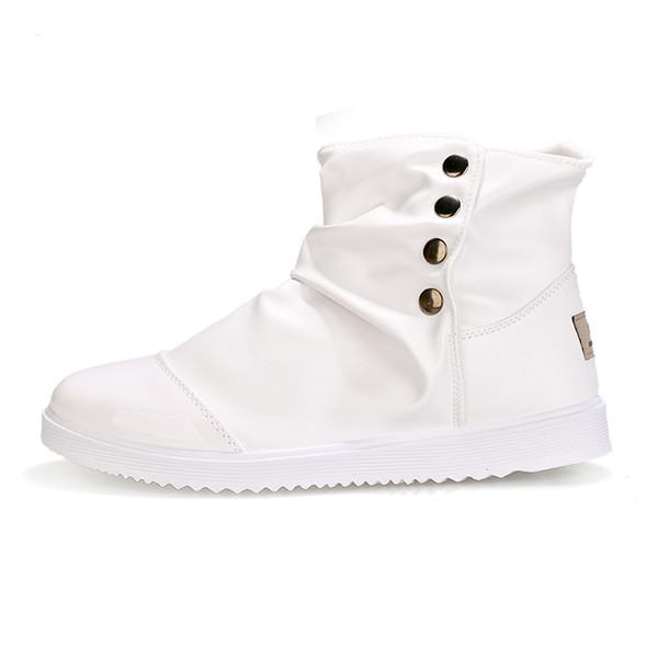 Boots Conception On Bout Rond Plates Chaussures Cuir Boots Bottes Slip Noir 21 Du Bottines Acheter Printemps Automne Homme Bouton Blanc Hommes De40 dxBrWoQCeE