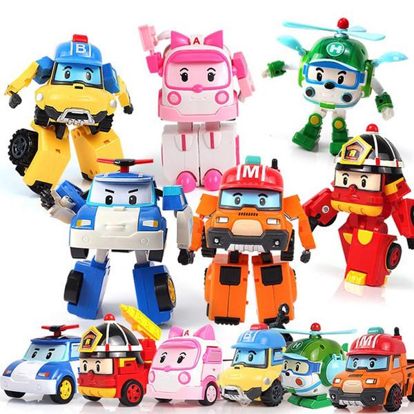 4 pz / 6 pz Poli Robocar Corea Robot Bambini Trasformazione Anime Action Figure Super Ali Giocattoli Per Bambini Playmobil Juguetes J190513