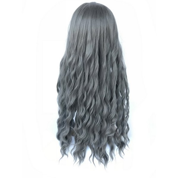 65cm Long Wavy Wigs With Bangs Heat Resistant Hat Synthetic Hair Black Linen Brown Purple Blonde Wig Free Shipping