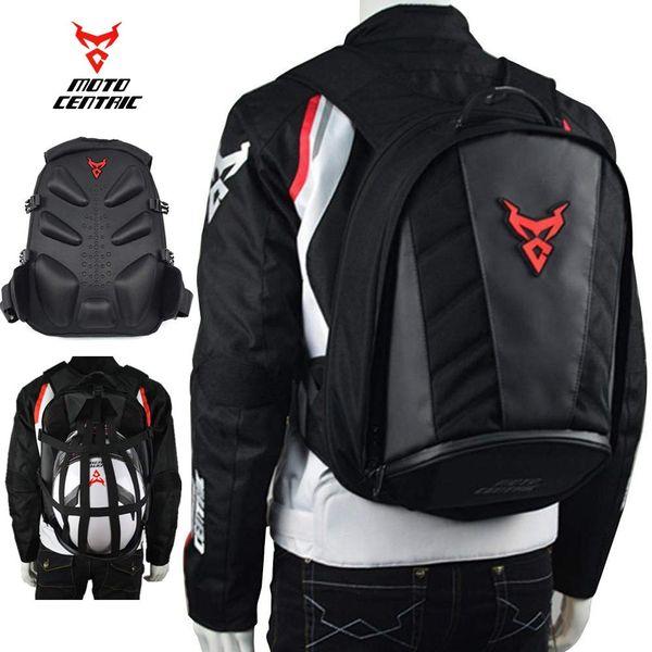 Pelle Moto impermeabile zaino casco di guida Laptop Shoulder Bag Package (Red)