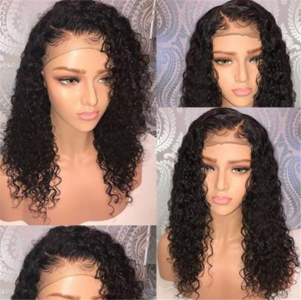 Kinky Curly 5*4.5'' Silk Top Lace Front Human Hair Wigs Virgin Peruvian Glueless Full Lace Wig Human Hair for Black Women