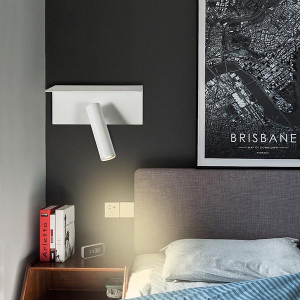 Zerouno ha portato a parete lampade da comodino lettura di notte luce del libro angolo di 350 gradi di rotazione con ripiano caricatore del telefono USB wandlamp