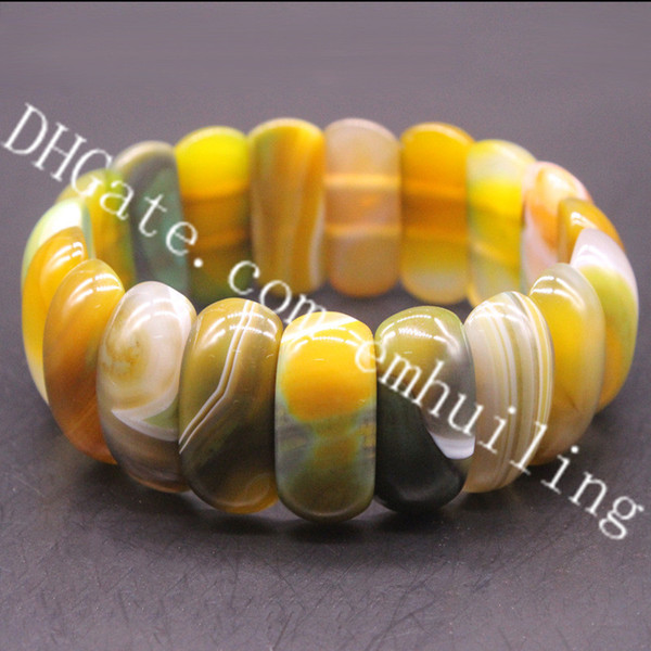 10Pcs Dyed Multicolor Striped Dragon Vein Agate 11*25*8mm Hand Cut Polished Gemstone Nugget Beads Stretchy Bangle Bracelet Hand Row Gorgeous