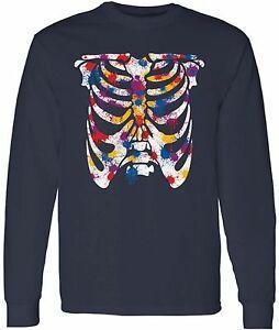 Ribcage Красочные Длинные Рубашки SBrandve Топы Окрашенный Скелет мужской Хэллоуин