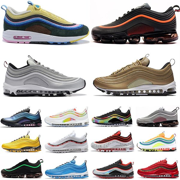 best selling Mens Sneaker 97 Balck Metallic Gold Throwback Future Tie Dye undefeated running shoes South Beach SW OG 97s Women Sports Sneakers Trainers