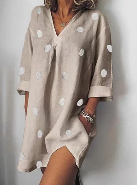 Designer de moda vestido de Womens Vestidos Verão V-Neck Casual Polka Dot solto Dividir Vestido Moda Feminina Vestuário