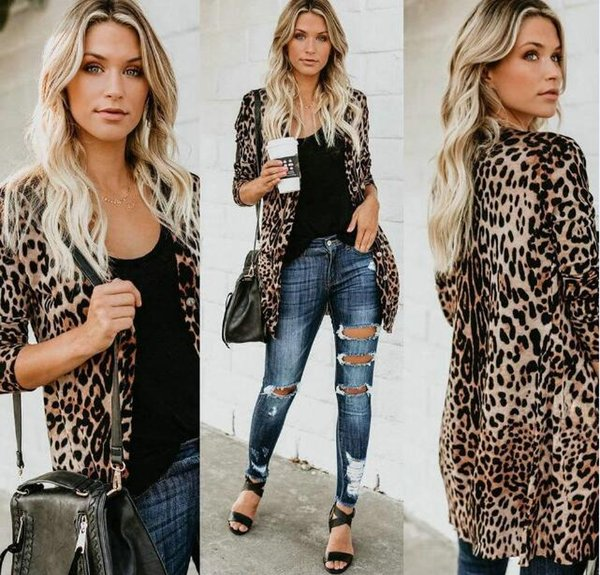 V-neck Sexy Women Leopard Coats Fashion Long Buttons Print Clothing Jacket Spring Autumn Designer Coats For Sale