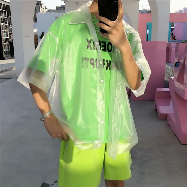 Nouveau Hommes En Plastique Transparent Chemise À Manches Courtes Veste Imperméable De La Mode Marée See Through Clear Pvc Chic Chemises Y19050703