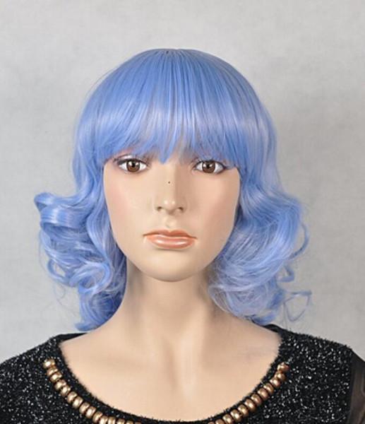 WIG Livraison gratuite Party cosplay longue perruque naturelle Anime Perruques Full Fashion Bleu perruque de cheveux