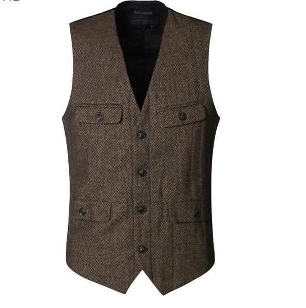 2019 Farm Wedding Groom Vests Groomsmen Vest with Four Pockets Slim Fit Mens Dress Suit Vest Prom Party Wedding Waistcoat