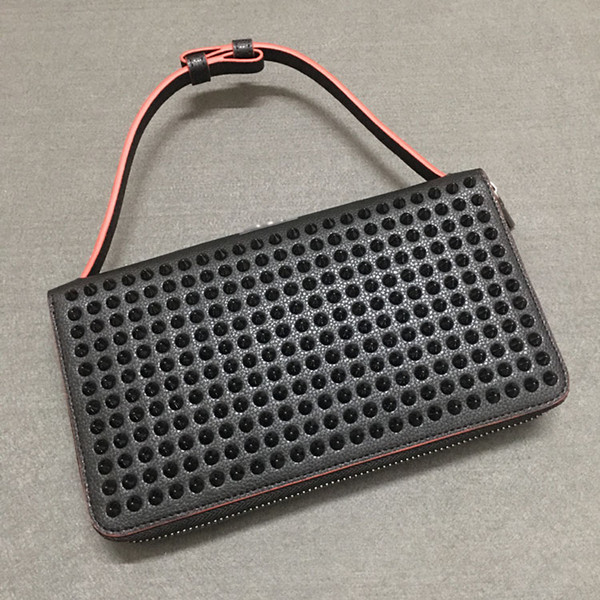 Black Ladies Luxury Brand cross Bags Genuine Leather Fashion gold Rivet spikes decoration Handbag Shoulder Clutch with Chain bags