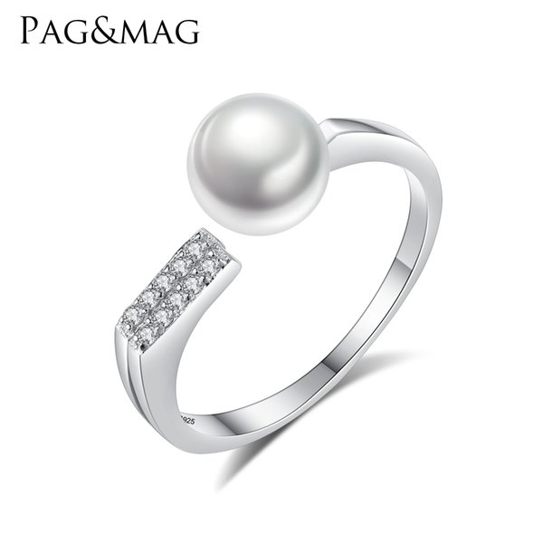 PAG&MAG Charms Romantic Natural Pearl Open Ring for Women Girl Wedding Rings Adjustable Knuckle Finger 925 Silver Jewelry Xmas