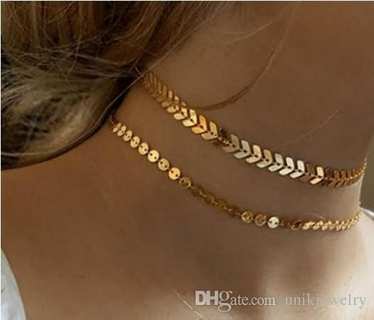 jewelry necklaces fish bone sequines multi layered girls/ladies 18k gold /silver tone womens necklaces