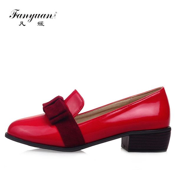 Designer Dress Shoes 2019 New Women Solid Sweet Butterfly-knot Shallow Pumps Round Toes Big Size Girls Sweet Spring Med Heels