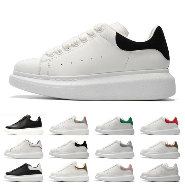 Designer 3M reflective white black leather casual shoes for girl women men pink gold red fashion comfortable flat sneakers36-44