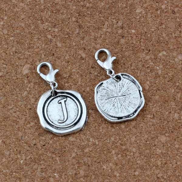 """Letter Disc """" J """" Alphabet Initial Floating Lobster Clasps Charm Beads Fit Charm Bracelet DIY Jewelry 18x32.5mm 50pcs Antique Silver A-474b"""