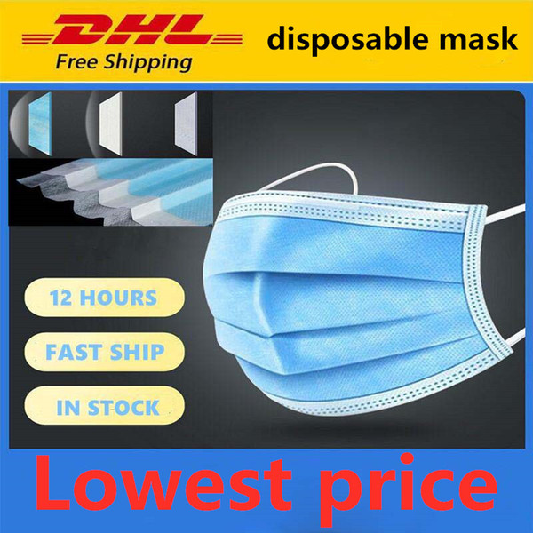 top popular DHL Free Shipping Wholesale Spot Disposable Mask 50 Pack Dustproof Anti-fog With Ear Hook Household Thick Three-layer Mask 24 Hours 000 2020